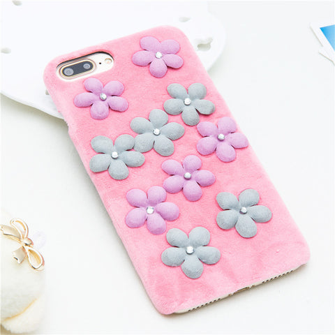 Fuzzy Flower iPhone Case - Pink - Eleven Gift