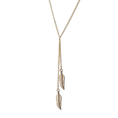 Gold Plated Feather Necklace - Eleven Gift