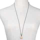 Gold Plated Shell With Turquoise Necklace - Eleven Gift