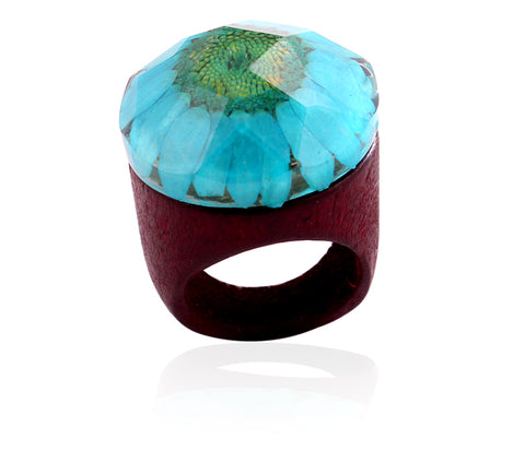 Handmade Wooden Flower Ring - Blue