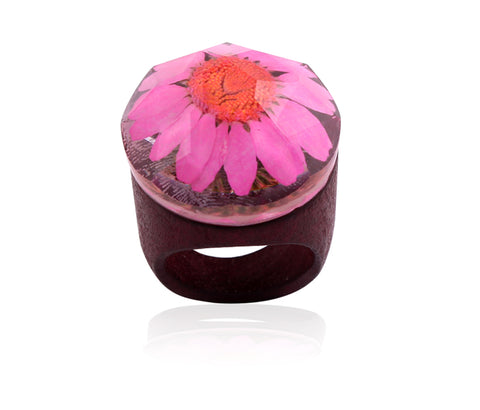 Handmade Wooden Flower Ring - Pink - Eleven Gift