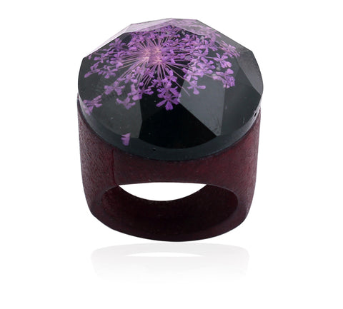 Handmade Wooden Flower Ring - Purple - Eleven Gift