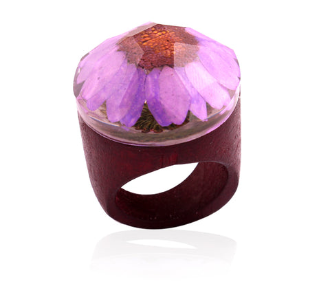 Handmade Wooden Flower Ring - Purple