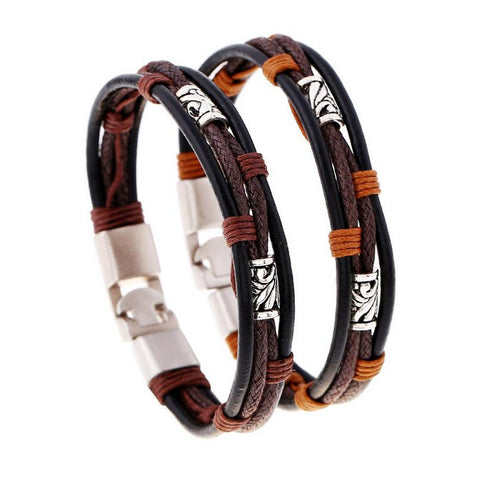 Hemp Rope With Leather Bracelet - Eleven Gift