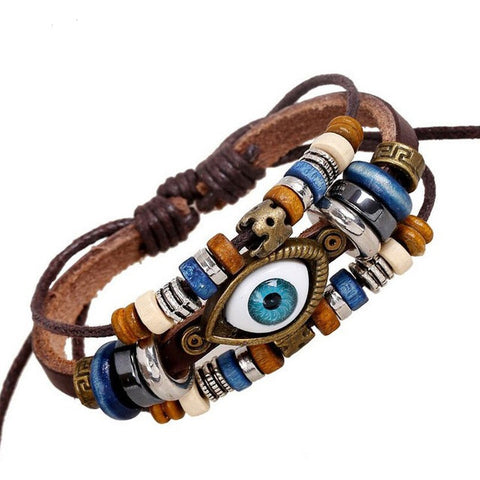 One Eye Leather Bracelet - Eleven Gift