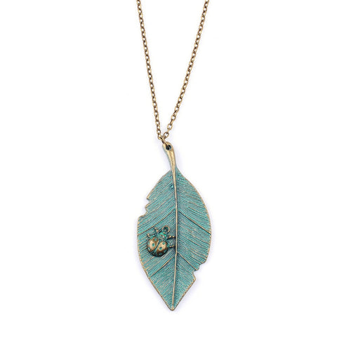 Ladybird On Leaf Necklace - Eleven Gift