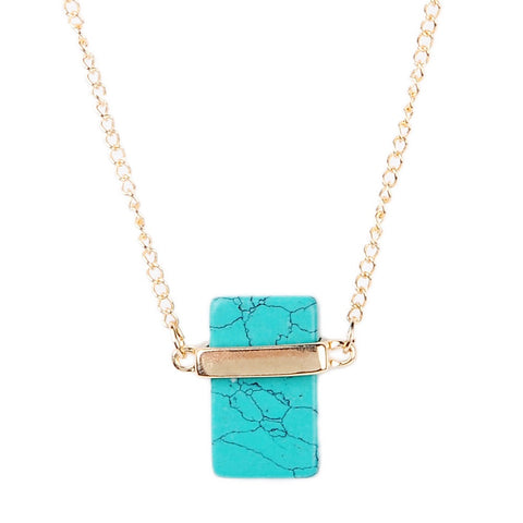 Natural Turquoise Gold Plated Necklace - Eleven Gift