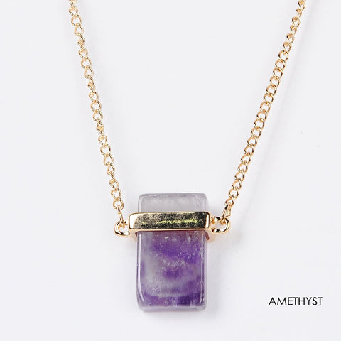 Natural Amethyst Gold Plated Necklace