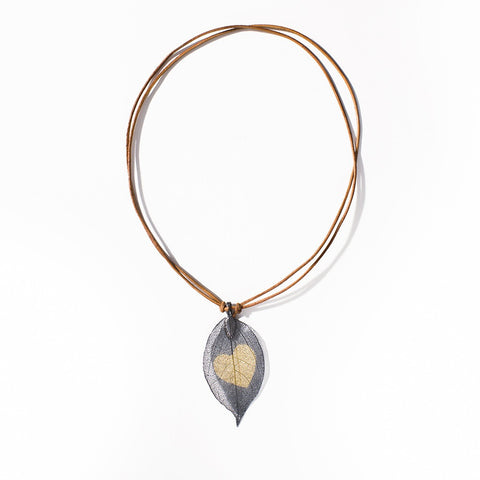 Real Leaf Leather Necklace - Eleven Gift