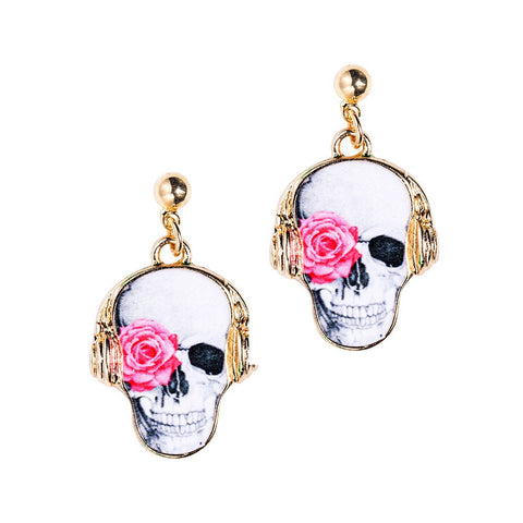 Rose Skull Earrings