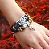 Snail Charm Leather Bracelet