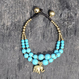 Turquoise Beads Gold Plated Elephant Bracelet