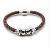 Twin Skull Leather Bracelet - Brown - Eleven Gift