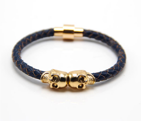 Twin Skull Leather Bracelet - Blue - Eleven Gift