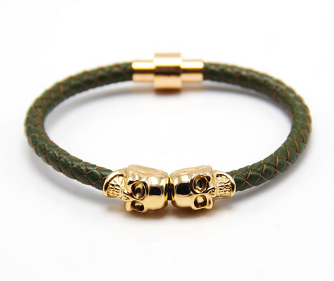 Twin Skull Leather Bracelet - Green - Eleven Gift