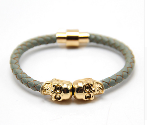Twin Skull Leather Bracelet - Gray - Eleven Gift