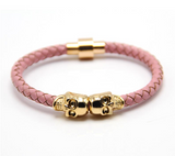 Twin Skull Leather Bracelet - Rose Pink - Eleven Gift
