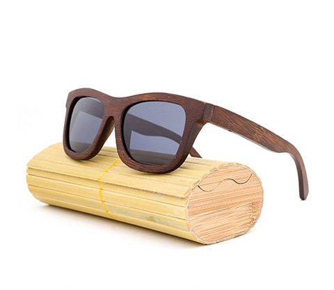Baverly - Dark Bamboo Sunglasses with Shadow Gray Polarized Lens - Eleven Gift