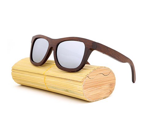 Baverly - Dark Bamboo Sunglasses with Silver Polarized Lens