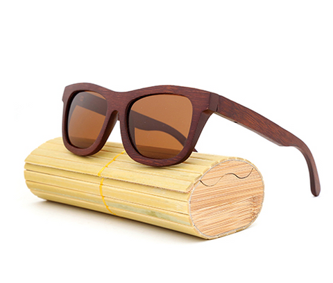 Baverly - Dark Bamboo Sunglasses with Brown Tea Polarized Lens - Eleven Gift