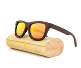 Baverly - Dark Bamboo Sunglasses with Sunset Orange Polarized Lens