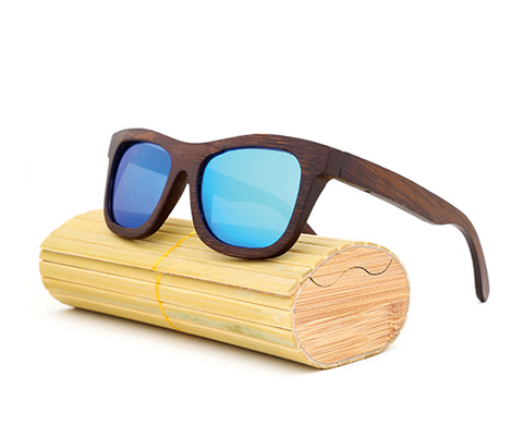 Baverly - Dark Bamboo Sunglasses with Sky Blue Polarized Lens - Eleven Gift