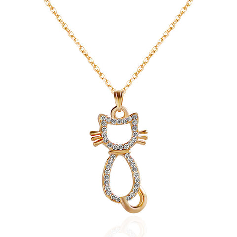 Crystal Cat Necklace - Gold