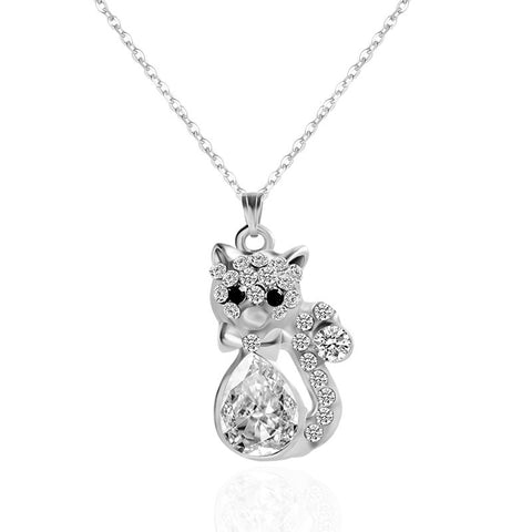 Crystal Cat Necklace - Silver - Eleven Gift