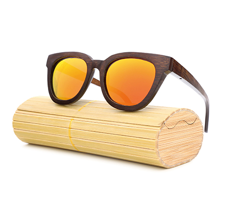 Daytona - Dark Bamboo Sunglasses with Sunset Orange Polarized Lens