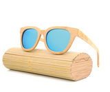 Daytona - Light Bamboo Sunglasses with Sky Blue Polarized Lens - Eleven Gift