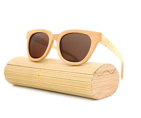 Daytona - Light Bamboo Sunglasses with Brown Tea Polarized Lens - Eleven Gift