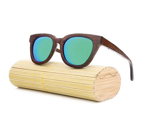 Daytona - Dark Bamboo Sunglasses with Oceon Blue Polarized Lens - Eleven Gift