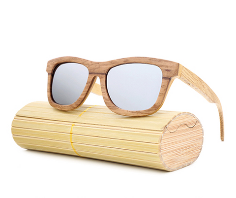Jupiter - Bamboo & Wood Sunglasses with Silver Polarized Lens