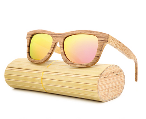 Jupiter - Bamboo & Wood Sunglasses with Pink Sunrise Polarized Lens