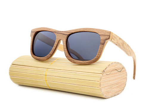 Jupiter - Bamboo & Wood Sunglasses with Shadow Gray Polarized Lens - Eleven Gift