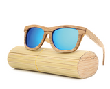 Jupiter - Bamboo & Wood Sunglasses with Sky Blue Polarized Lens