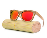 Jupiter - Bamboo & Wood Sunglasses with Sunset Orange Polarized Lens