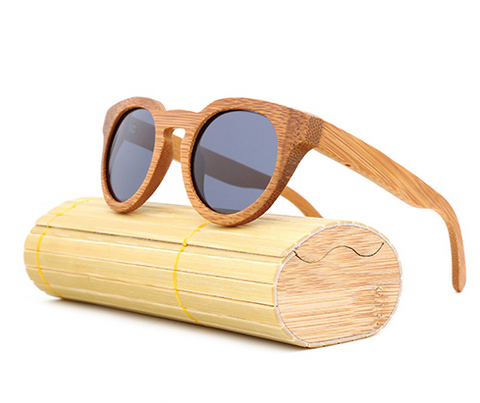 Malibu - Light Bamboo Sunglasses with Shadow Gray Polarized Lens - Eleven Gift