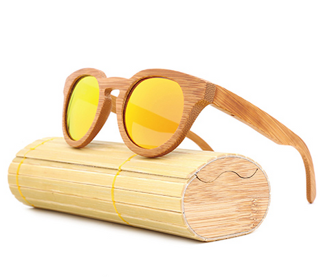 Malibu - Light Bamboo Sunglasses with Orange Sunset Polarized Lens - Eleven Gift