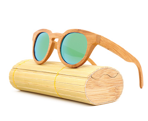 Malibu - Light Bamboo Sunglasses with Oceon Blue Polarized Lens - Eleven Gift