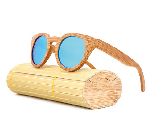 Malibu - Light Bamboo Sunglasses with Sky Blue Polarized Lens - Eleven Gift