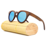 Malibu - Dark Bamboo Sunglasses with Sky Blue Polarized Lens - Eleven Gift