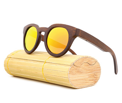Malibu - Dark Bamboo Sunglasses with Sunset Orange Polarized Lens