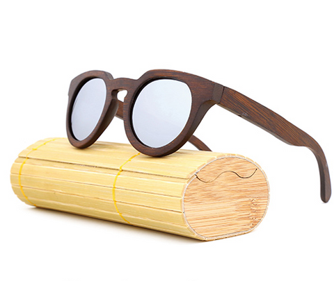 Malibu - Dark Bamboo Sunglasses with Silver Polarized Lens