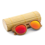 Malibu - Dark Bamboo Sunglasses with Sunset Orange Polarized Lens - Eleven Gift