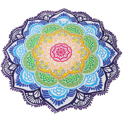 Limited Edition Lotus Mandala Tapestry - Design 1 With Pom Pom