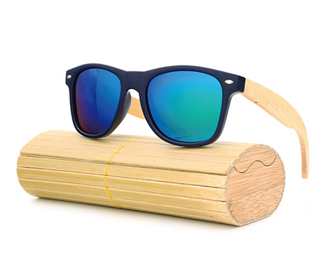Pacific - Bamboo & PC Sunglasses with Sky Blue Polarized Lens - Eleven Gift