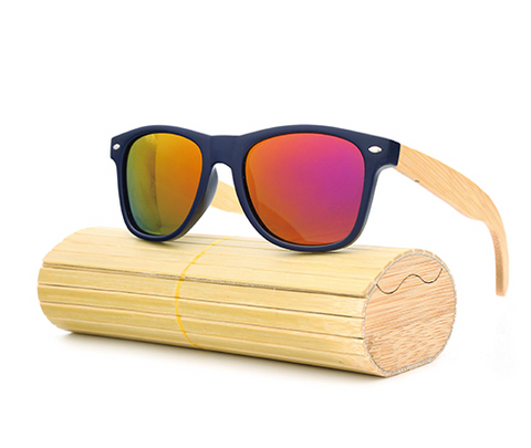 Pacific - Bamboo & PC Sunglasses with Sunset Orange Polarized Lens