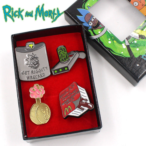 4 in 1 Rick and Morty Pins Set - Eleven Gift