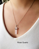 Rose Quartz Stone Necklace - Eleven Gift